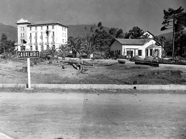 The Grand Hotel at Cavalaire overlooks the Red Beach assault landings. The stiffest resistance for the 7th Regiment was the fire from Cape Cavailaire where 3rd Division Sgt. James Connor's bravery earned him the Medal of Honor. After Connor's platoon leader was killed, he led the remainder of the squad, despite several wounds, to the high ground controlling the beach where they destroyed seven of the enemy and captured 40 more.